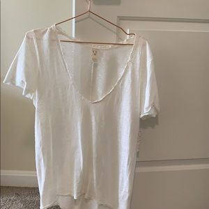 BNWT, never work, Free People, classic white T.